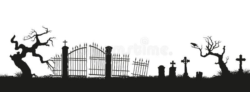 Svarta konturer av gravstenar, kors och gravstenar Beståndsdelar av kyrkogården Kyrkogårdpanorama stock illustrationer