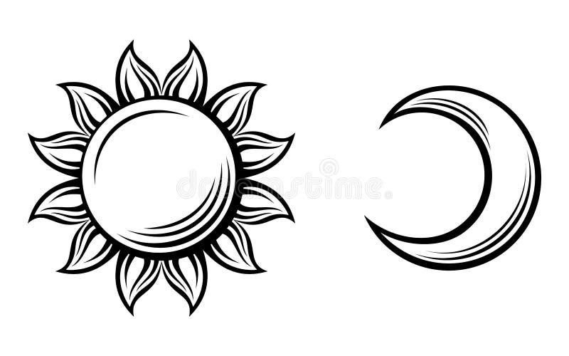 Svarta konturer av solen och månen. Vektor  stock illustrationer