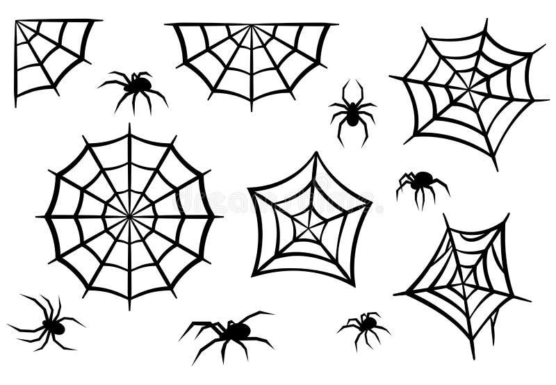 Svarta konturer av spindlar och spindelrengöringsdukar Allhelgonaaftonbeståndsdelar som isoleras på vit bakgrund också vektor för royaltyfri illustrationer