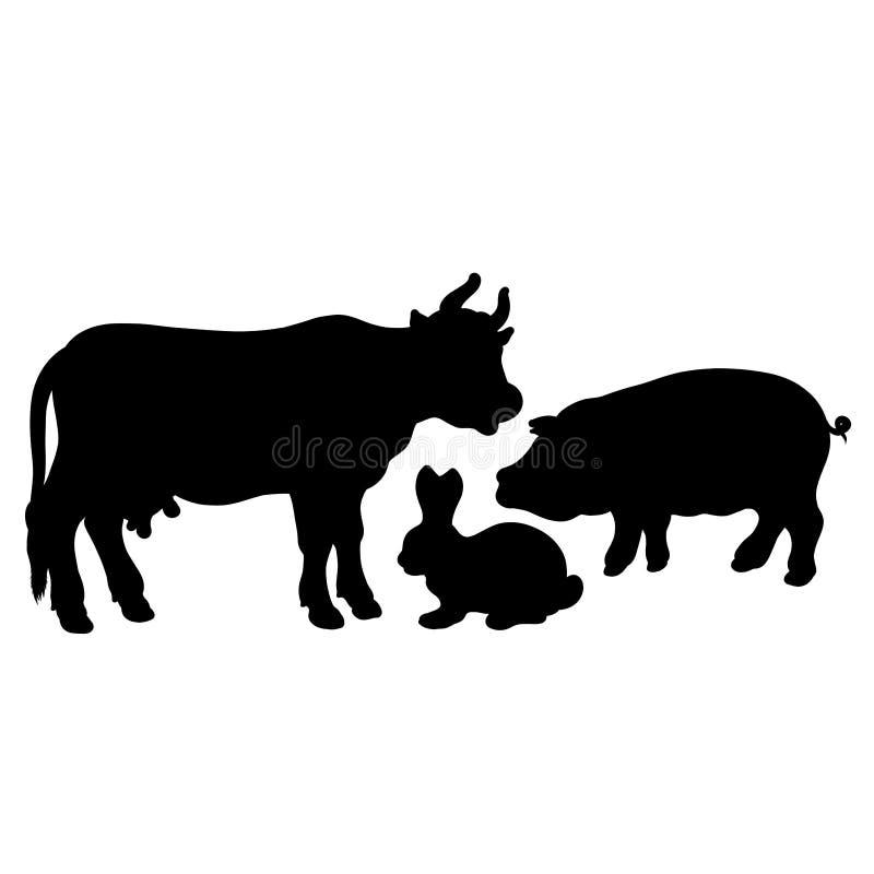 Svarta konturer av tre husdjur, ko, svin, kanin vektor illustrationer