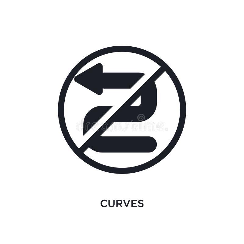 svarta kurvor isolerad vektorsymbol den enkla best?ndsdelillustrationen fr?n trafik undertecknar begreppsvektorsymboler redigerba stock illustrationer