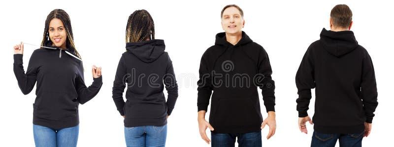 Svarta kvinnan i hoodiemodell, mannen i tom huvframdel och den tillbaka sikten som isolerades över vitt, hoodie ställde in kvinnl arkivbilder