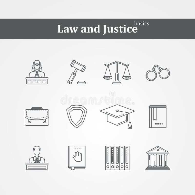 Svarta lag- och rättvisasymboler för vektor royaltyfri illustrationer