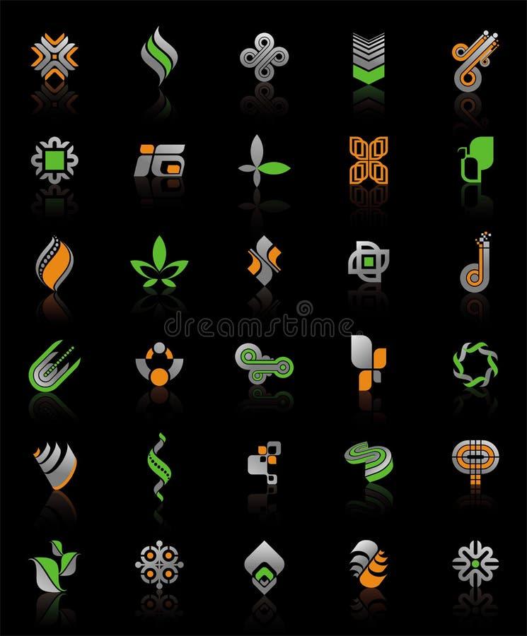 svarta logoer för bakgrund stock illustrationer
