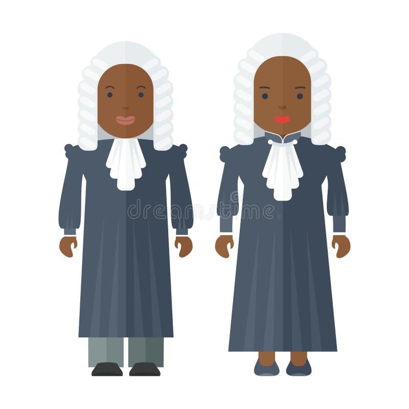 Svarta människor domare stock illustrationer