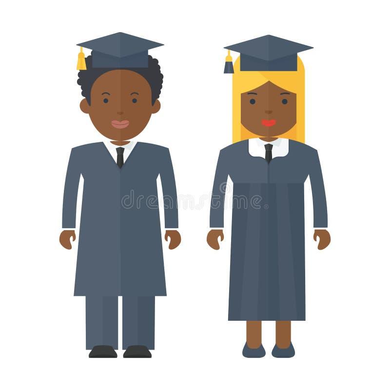 Svarta människor professorer royaltyfri illustrationer