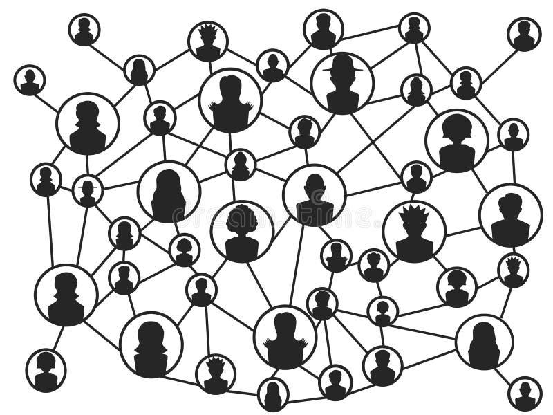 Svarta människor socialt nätverk royaltyfri illustrationer