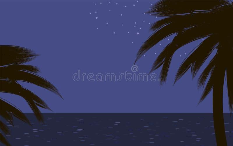 Svarta mörka konturer av palmträd på den tropiska kustnaturen på havet för blå himmel för natten att glo bakgrund för stjärnavekt royaltyfri illustrationer