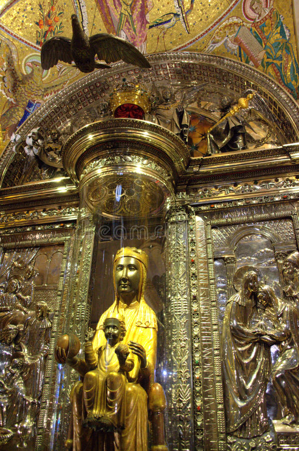 Svarta Madonna, Montserrat, Spanien royaltyfria foton