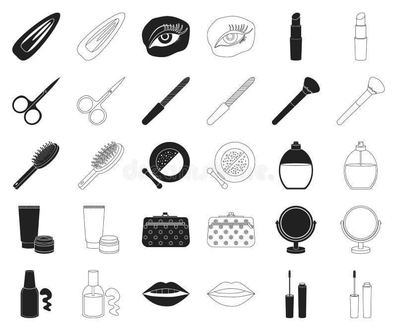 Svarta makeup och skönhetsmedel, översiktssymboler i den fastställda samlingen för design Makeup och rengöringsduk för materiel f vektor illustrationer