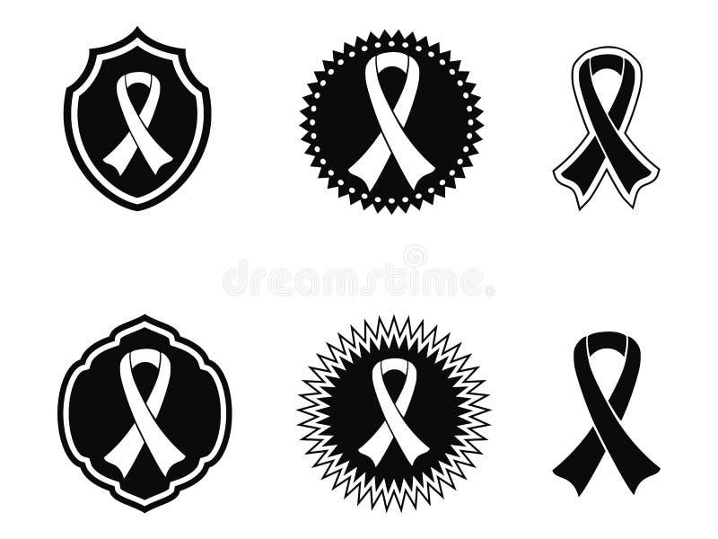 Svarta medvetenhetband och emblem royaltyfri illustrationer