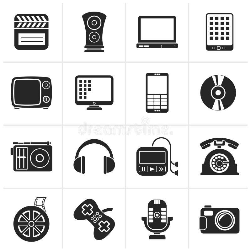 Svarta multimedia- och teknologisymboler royaltyfri illustrationer