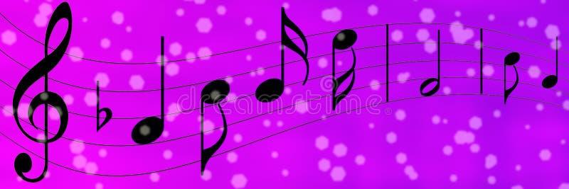 Svarta musikanmärkningar i lilor och Violet Banner Background royaltyfri illustrationer