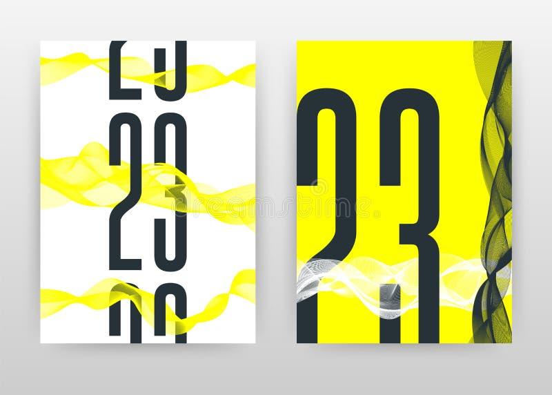 Svarta 23 nummer med gula vinkade linjer planlägger för årsrapporten, broschyren, reklambladet, affisch Gula vinkade linjer bakgr royaltyfri illustrationer