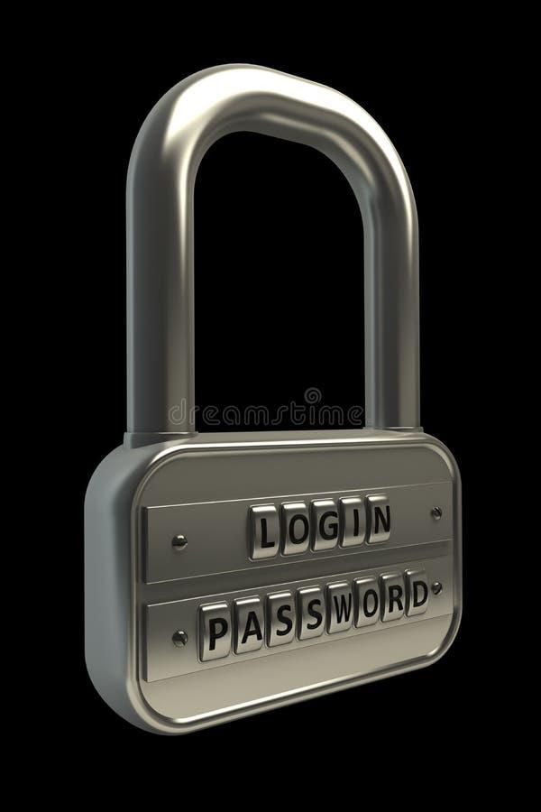 svarta objekt för lås 3d över lösenord royaltyfri bild