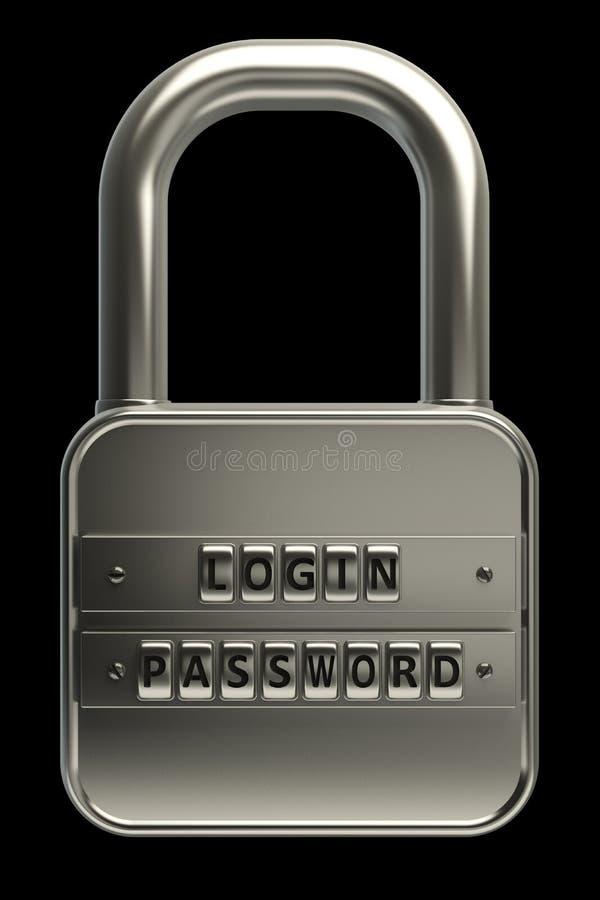 svarta objekt för lås 3d över lösenord arkivbild
