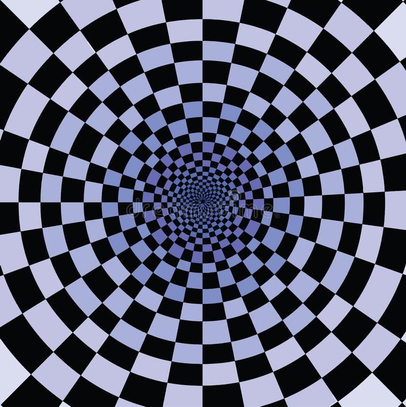 Svarta och blåa fyrkanter som tillsammans faller i oändligt hål stock illustrationer