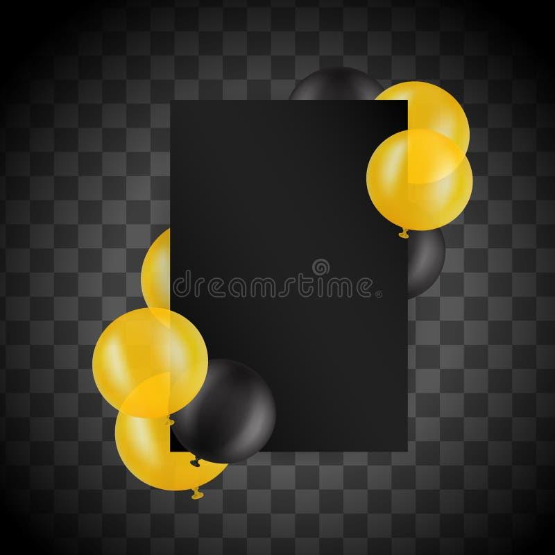 Svarta och guld- ballons på genomskinlig bakgrund med modellen den extra illustratören för ramen för Adobeeps-formatet inkluderar vektor illustrationer