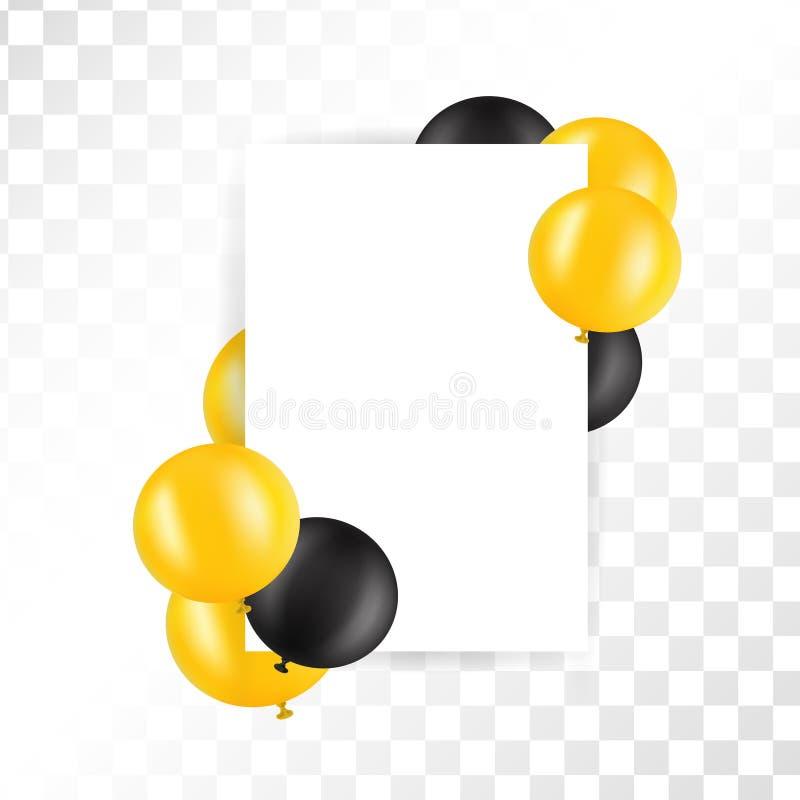Svarta och guld- ballons på genomskinlig bakgrund med modellen den extra illustratören för ramen för Adobeeps-formatet inkluderar stock illustrationer