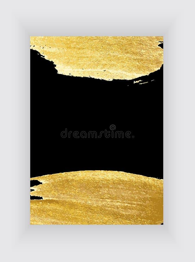 Svarta och guld- designmallar för broschyrer och baner Guld- abstrakt bakgrundsvektorillustration royaltyfri illustrationer