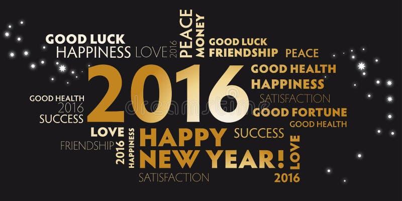 svarta 2016 och lyckligt nytt år för guld- vykort stock illustrationer