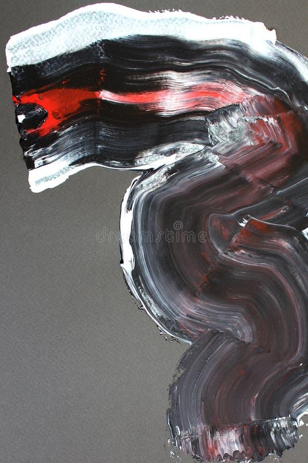 svarta och röda borsteslaglängder på kanfas abstrakt konstbakgrund F?rgtextur Fragment av konstverk abstrakt kanfasm?lning vektor illustrationer