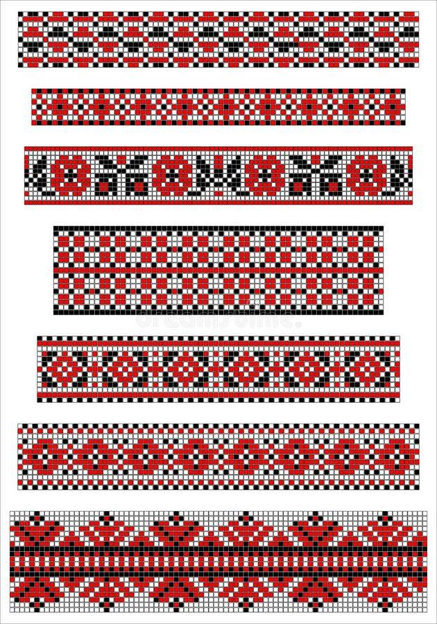 Svarta och röda etniska gränser för arg häftklammervektor royaltyfri illustrationer