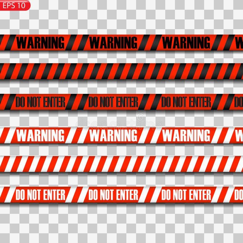 Svarta och röda varningslinjer vektor illustrationer