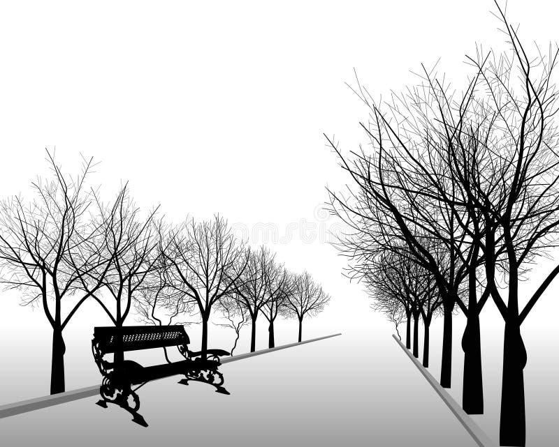 Svarta oisolerade trees i park stock illustrationer