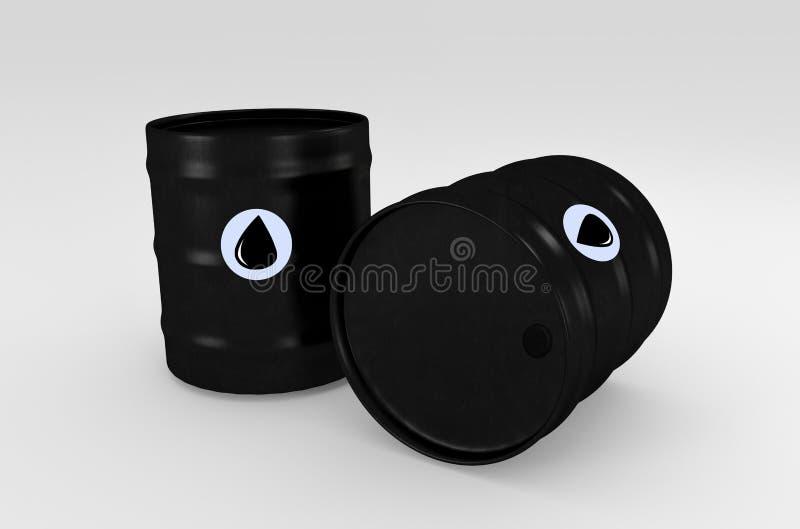 Svarta olje- trummor som isoleras på vit framförande 3d stock illustrationer