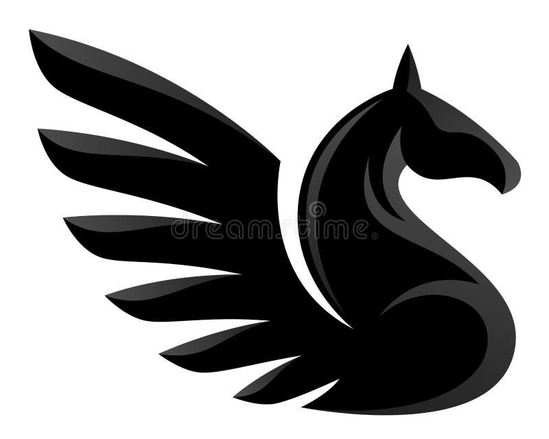 svarta pegasus royaltyfri illustrationer