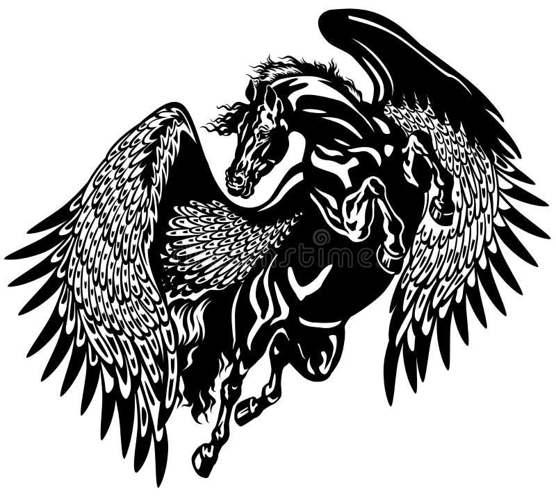 Svarta pegasus vektor illustrationer