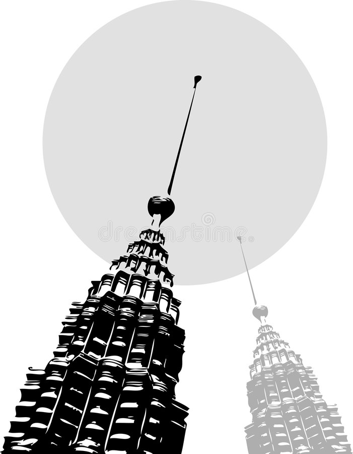 svarta petronas towers white royaltyfri illustrationer