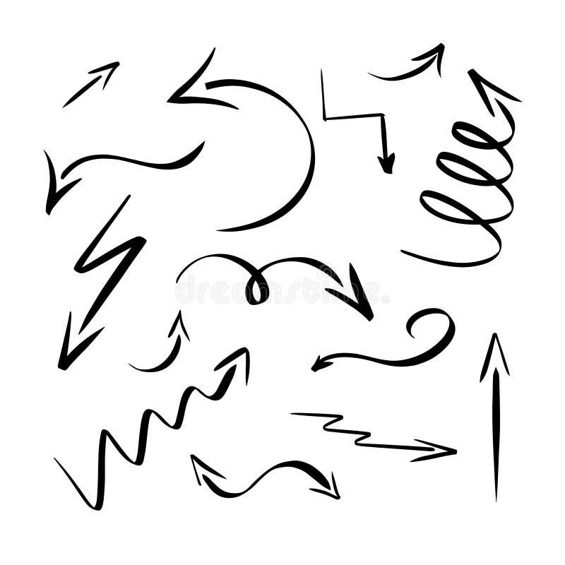 Svarta pilar Illustration Eps 10 för vektor för samling för utdragen pil för hand fastställd Drawning pekare som isoleras på vit  royaltyfri illustrationer