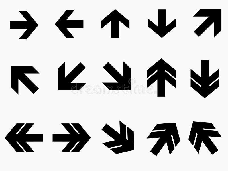 Svarta pilar med olika riktningar vektor illustrationer