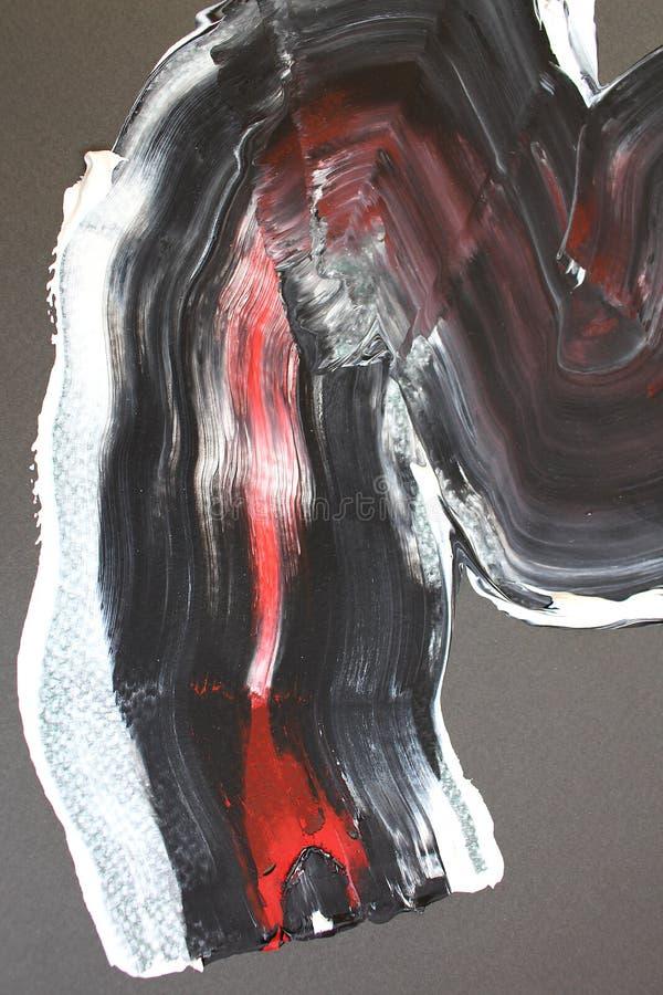Svarta röd linjefärger på kanfas abstrakt konstbakgrund Färgtextur Fragment av konstverk abstrakt kanfasmålning royaltyfri illustrationer