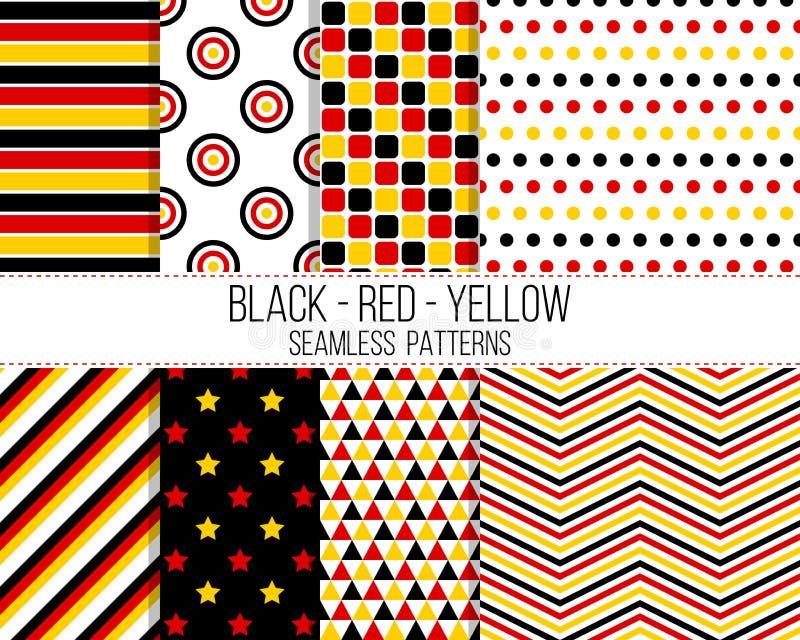 Svarta röda gula geometriska sömlösa modeller royaltyfri illustrationer