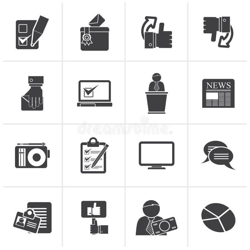 Svarta röstning- och valsymboler stock illustrationer