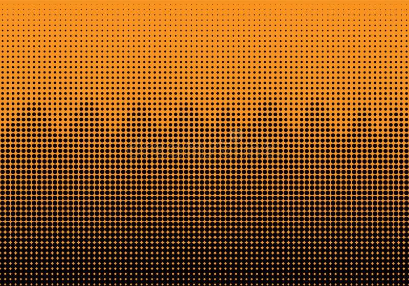 Svarta rastrerade Dots Wave Pattern i gul bakgrund royaltyfri illustrationer