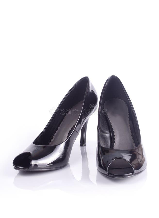 svarta sexiga skor royaltyfria foton