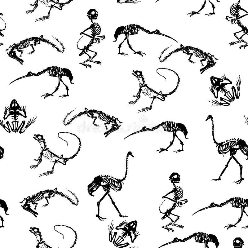 Svarta skelett av reptilkrokodiler, ödlor, grodor, apor och fågelstrutsar och häger på vit bakgrund royaltyfri illustrationer