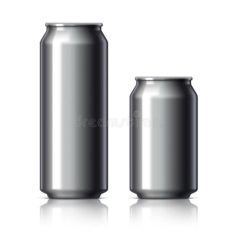 Svarta skinande aluminiumburkar royaltyfri illustrationer
