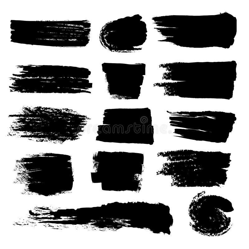 Svarta slaglängder för målarfärgborste, smutsig inked grungevektorkonst borstar vektor illustrationer