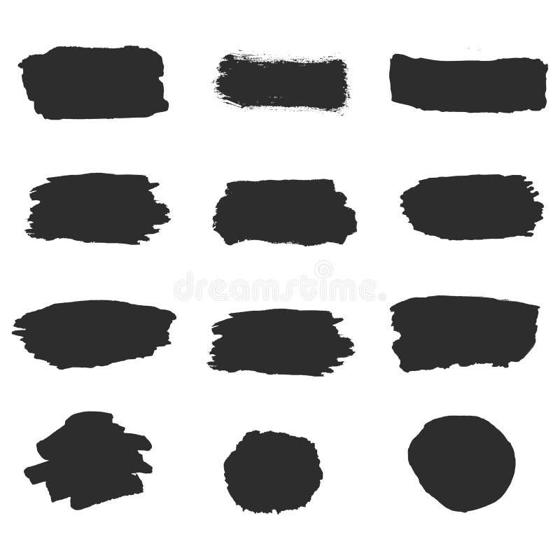 Svarta slaglängder för vektorfärgpulverborste av målarfärg på vit bakgrund Ställ in samlingslinjen eller textur Målarpenseluppsät vektor illustrationer