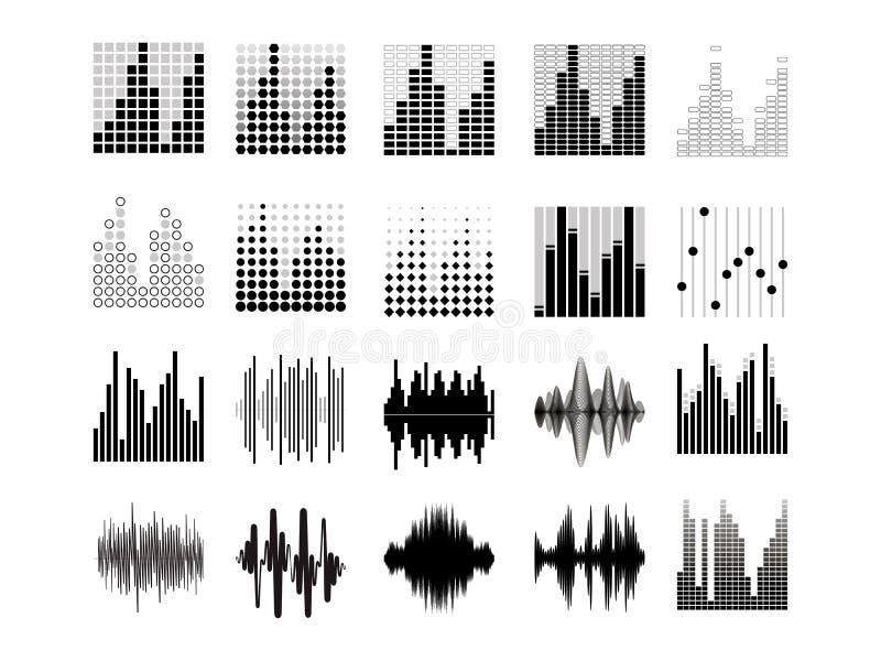 Svarta solida v?gor Musikljudsignalfrekvens, st?mmalinje waveform, elektronisk radiosignal, volymniv?symbol vektor stock illustrationer