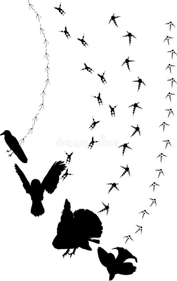 svarta spår för fåglar royaltyfri illustrationer