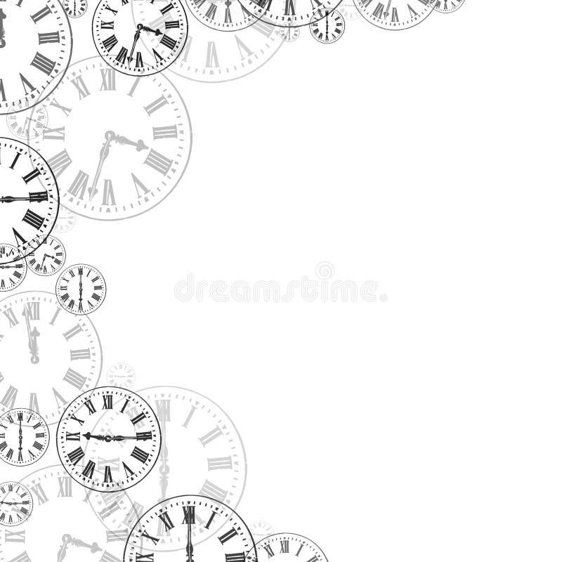 Svarta stämpelurer & vit bakgrundsgräns stock illustrationer