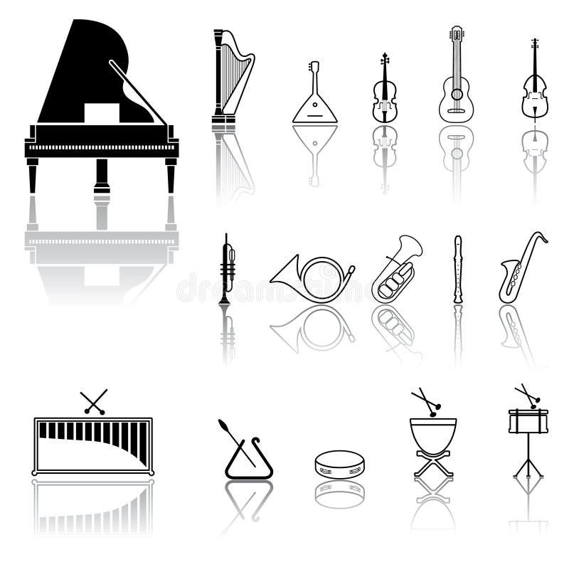 svarta symboler stock illustrationer
