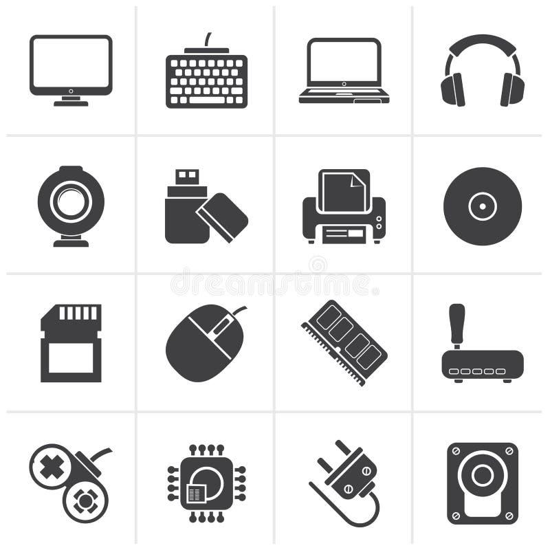 Svarta symboler för datorkringutrustningar och tillbehör stock illustrationer