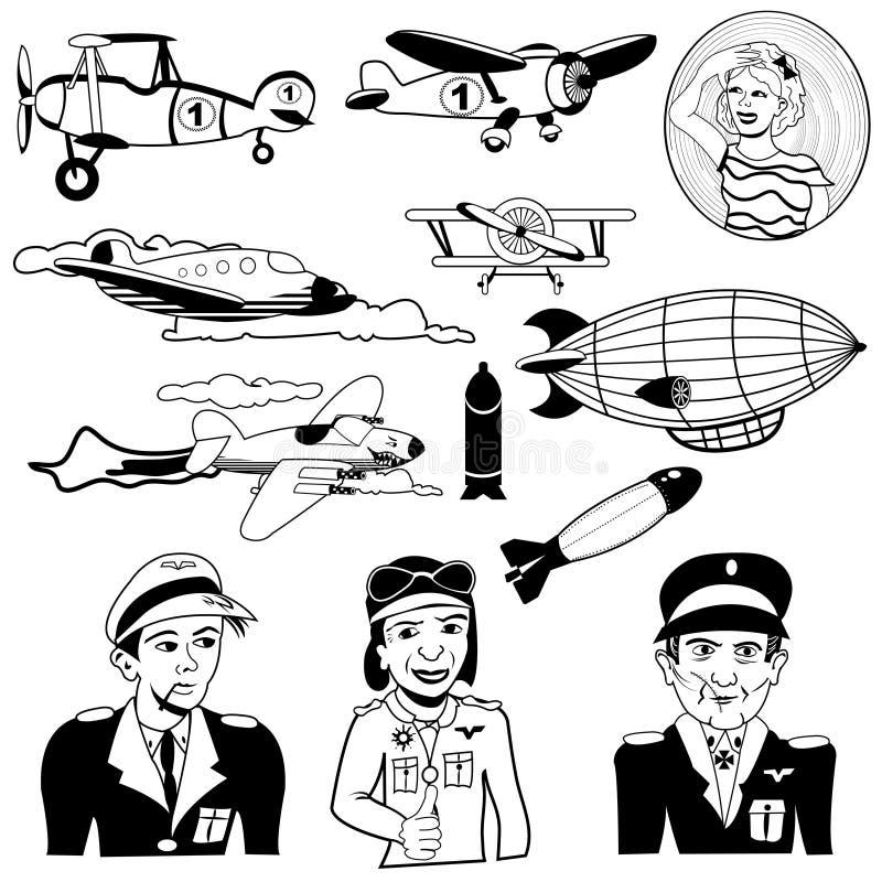 Svarta symboler för flygplan vektor illustrationer